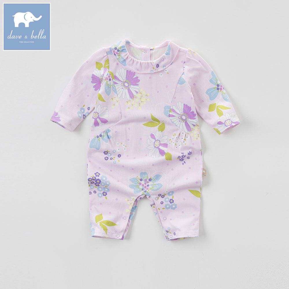DB5851 dave bella autumn new born baby cotton romper infant clothes girls purple cute floral romper baby 1 piece db5033 dave bella summer new born baby unisex rompers cotton infant romper kids lovely 1 pc children romper
