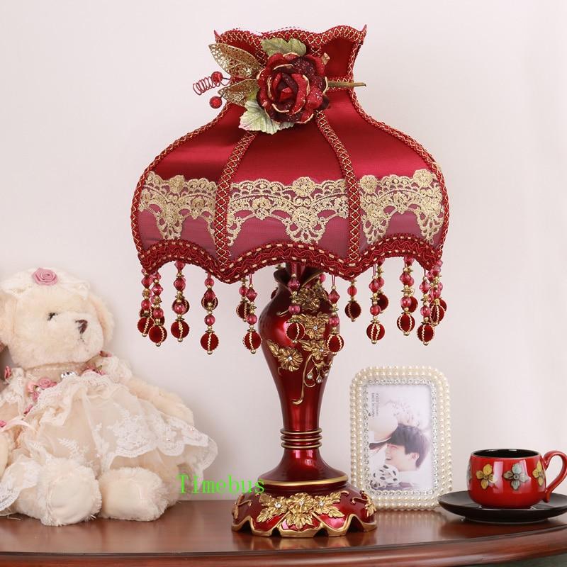 Спальня настольная лампа прикроватная лампа свадебный подарок лампы высокого класса домов Свадебные украшения комнаты лампы вечерние красный стол led огни настольные лампы для рабочего стола настольная лампа абажур