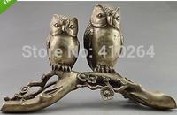 Koleksiyon Dekore Eski İşi Tibet Gümüş Carve Çifti Üzerinde Baykuş Ağacı Büyük Heykeli Statü ve Heykelleri Ev ve Bahçe -