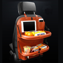 Leather Car Seat Back Storage Bag Folding Auto Backseat Organizer Pockets Hanging Tissue Bag Table Phone Waterbottle holder