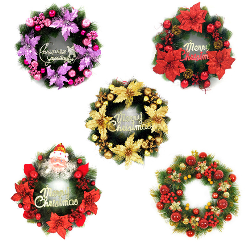 2016 Hot Sale Christmas Wreath Home Party Decorations New Year Festivals  Door And Window Decorations Diameter