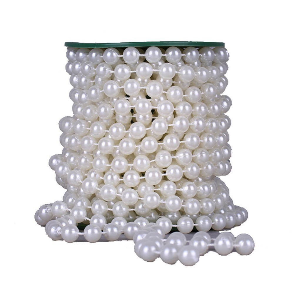 22 yards 10mm Large crystal Faux Pearls Beads String By the Roll for Party Garland flowers Wedding Baby Shower DIY Decoration