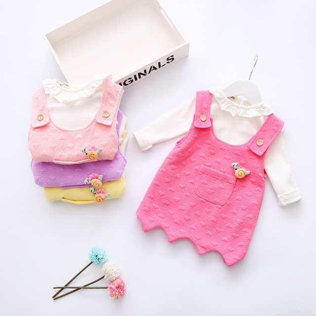 2017 Spring New New Baby Girl Dress Lace Bow Princess Dress Children's Clothing Baby Strap + T Shirt 2 Sets Free Shipping