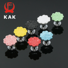 KAK Orchid Ceramic Handles Drawer Knobs Kitchen Cupboard Door Handles for Kids Room Cabinet Handles with screws Furniture Handle(China)