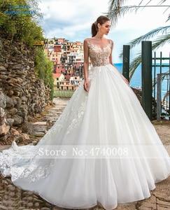 Image 4 - Sexy A Line Wedding Dresses 2019 Appliques Vestido De Novia Gorgeous Beading White Bridal Gown Bride Dress