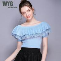 High Quality Royal Blue Ruffles Pullovers 2019 Spring Summer New Pleated Lace Patchwork Short Sleeve White Black Sweaters