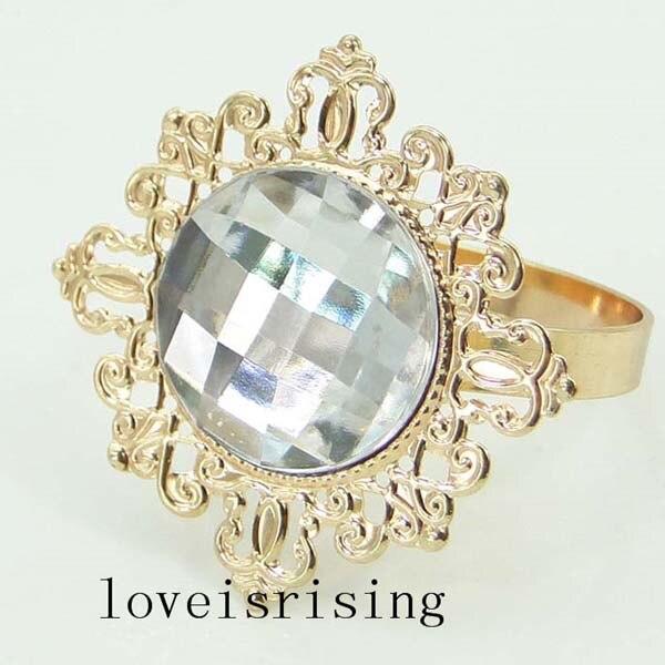 100pcs/lot Clear Acrylic Gem Napkin Rings Vintage Style Gold-tone Metal Rings Wedding Decor Napkin holder