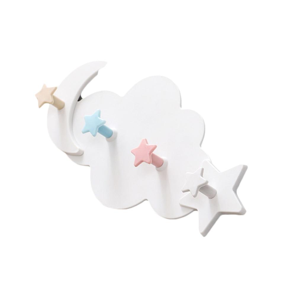 Star Moon Cloud Shape Nail-free Shelf Hanging Room Decor Hat Clothes Hooks