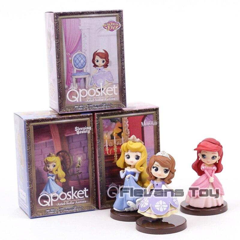 Q Posket Characters Petit vol.7 Princess Ariel Sofia Aurora Mini PVC Figures Toys Dolls for Girls Gift 3pcs/set