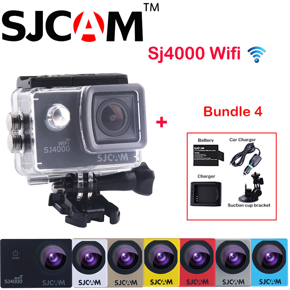 Original SJCAM SJ4000 WiFi 2'' Screen Full HD 1080P Sports Action Camera Car DVR +Extra Battery+Charger+Car Charger+Suction Cup