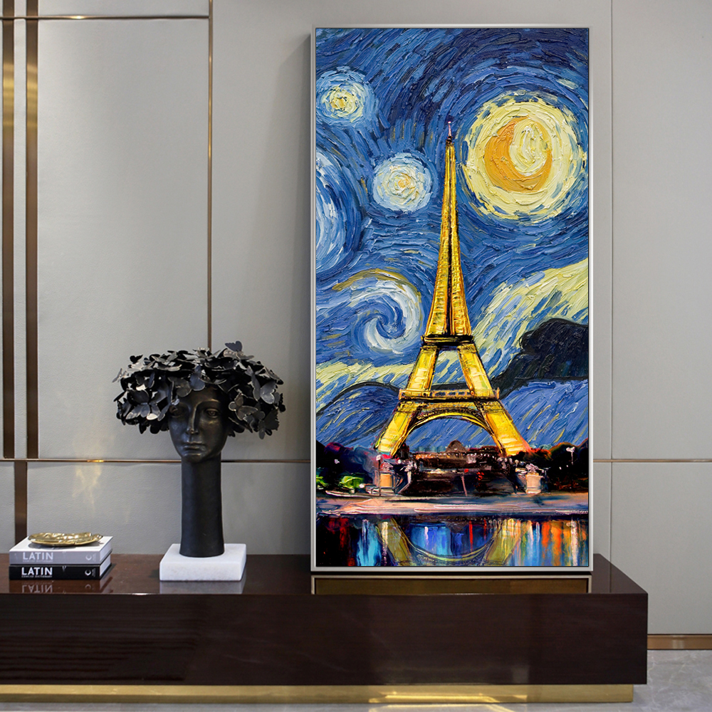 Paris Tower Pop Art Canvas Prints Starry Night Canvas Paintings On The Wall Posters And Prints For Living Room Cuadros Decor