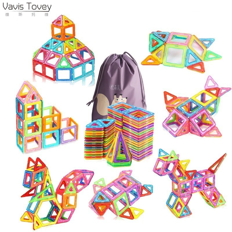 Vavis Tovey 110pcs Big Blocks Designer DIY Plastic Building & Construction Toy Magnetic Tiles Educational Toys Children