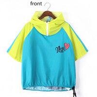 Just Be Never Korean Style Clothing Hooded Hoodies Sweatshirt Tops Pullovers Short Sleeve Plus Size Women