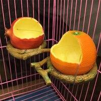 Nowe śmieszne owoce kształt ptak dozownik pokarmu dla papug pomarańczowy granat jedzenie podawanie wody miska pojemnik podajniki dla skrzynek klatki Coop Pet