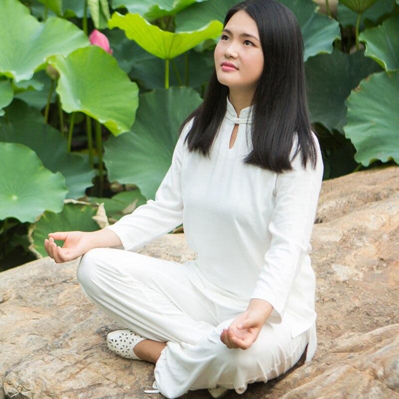 14 blanc Tai Chi vêtements à manches longues KungFu Yoga uniforme Wushu TaiChi uniforme Taichi vêtements Yoga costume femme