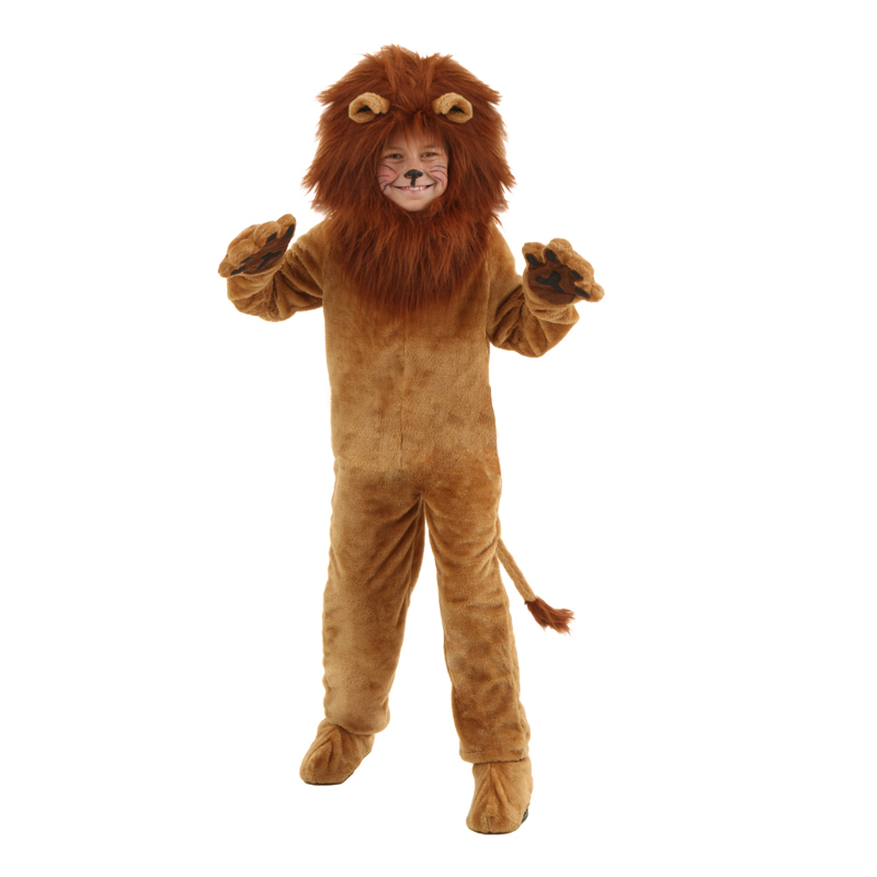 Child Deluxe Lion Costume Kids Animal Halloween Cosplay Costumes Fancy Wizard of Oz Movie Role Jumpsuits
