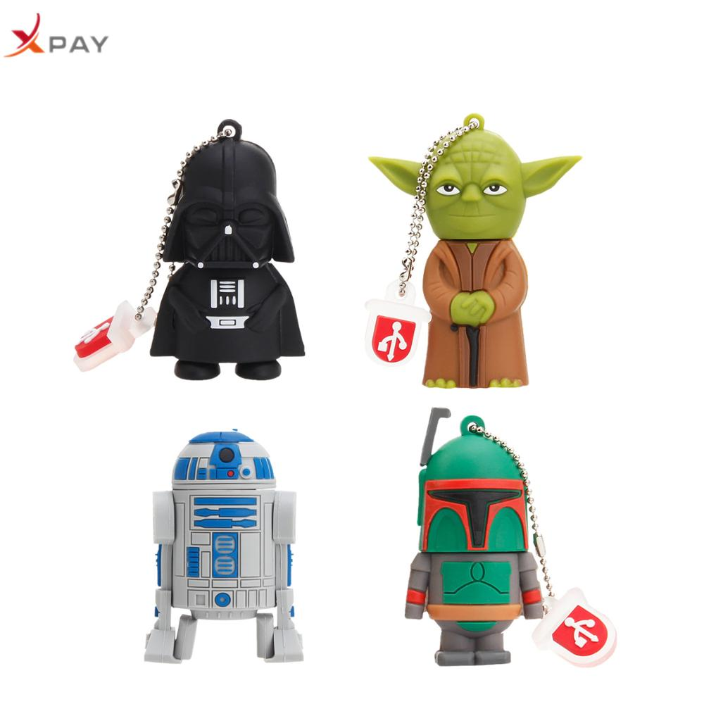 XAPY Yoda cartoon USB flash drive 2.0 pen R2D2 Silicone 128GB 64GB 16GB 8GB 4GB all styles usb 32GB Free Custom Logo