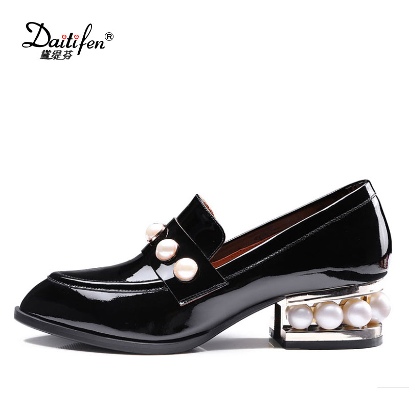 Hot Pearl Heel Pointed Toe Pumps Women Genuine Patent Leather Shoes Lady Slip On Med Thick Heels Lady Black Lazy Shoes Plus Size british college style genuine leather sexy pointed toe pumps fashion tassel slip on red black beige square med with women shoes
