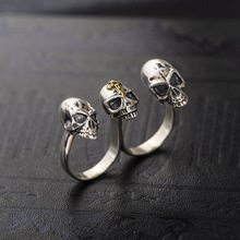 New arrival !Fashion soldier Men's Punk Rock rings Jewelry Gothic Men's three cross Skull  Biker  silver Ring Personality ring