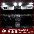Night Lord 14pcs/lot Error Free Interior Glove Box Trunk Vanity Mirrors Front Rear Dome Door Warning Lights For A-u-d-i C6 A6 S6