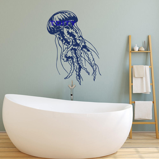 Ocean Jellyfish Art Vinyl Wall Decal Wild Life Jelly Fish Wall Decor Sea  Animals Wall Decal