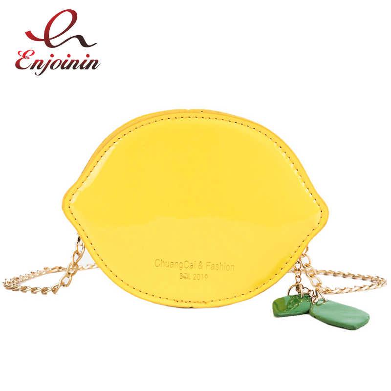 Amusant mignon citron en forme de cuir verni Mini sac à main de jeune fille pochette décontracté sac à bandoulière fourre-tout dames rabat femme Bolsa