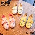 Девушки розовый shoes 2017 весной новый кожаный полые кожа дышащий мягкое дно моды бантом shoes kids shoes shoes дети квартиры