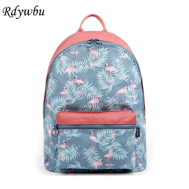 Rdywbu Korean 3D Flamingo Cartoon Printing Backpack Stitching Floral Casual Daily Travel Bag Teenagers School Bag Mochila H141 japan pokemon harajuku cartoon backpack pocket monsters pikachu 3d yellow cosplay schoolbags mochila school book bag with ears
