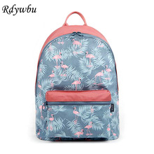 Rdywbu Korean 3D Flamingo Cartoon Printing Backpack Stitching Floral Casual Daily Travel
