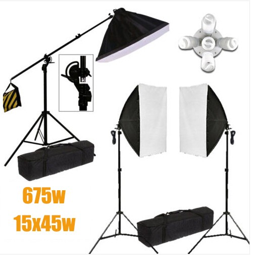 Photo Studio 15x45w 5 Head Soft Box Continuous Lighting System Light Stand Kit
