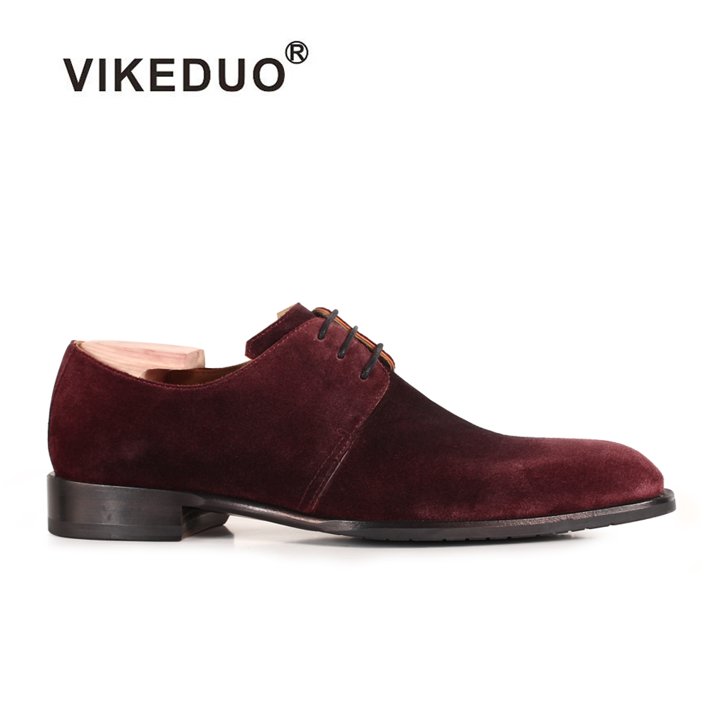 Vikeduo 2018 New Real Luxury Flat Men Derby Shoes Fashion Suede Cow Leather Handmade Men's Lace-up Dress Party Original Design vikeduo hot sale vintage retro custom men s derby shoes fashion business dress luxury wedding genuine leather original design