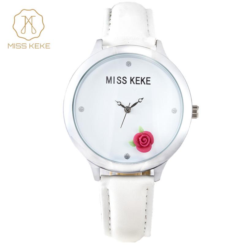 Prix pour Miss Keke Marque Dames Montres À Quartz Diamant 3D Argile Rose Robe Montre-Bracelet En Cuir Filles Femmes Bracelet Simple Montre Horloge 14