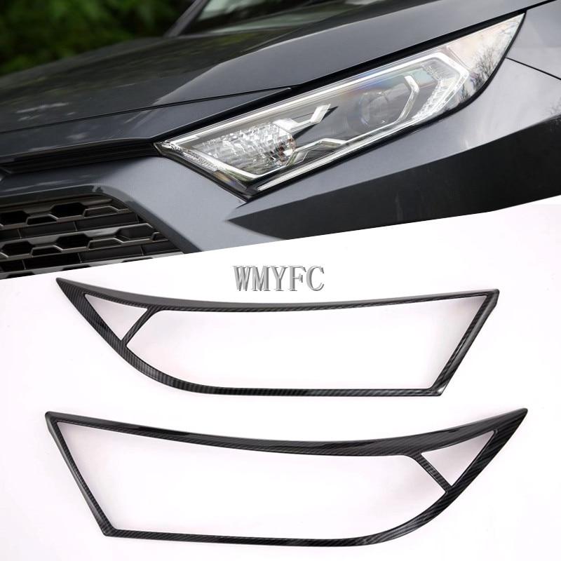 Otomobiller ve Motosikletler'ten Krom Şekillendirici'de 2 adet ABS karbon Fiber ön far ışıkları ayar kapağı dekorasyon Toyota RAV4 2019 2020 dış araba aksesuarları title=