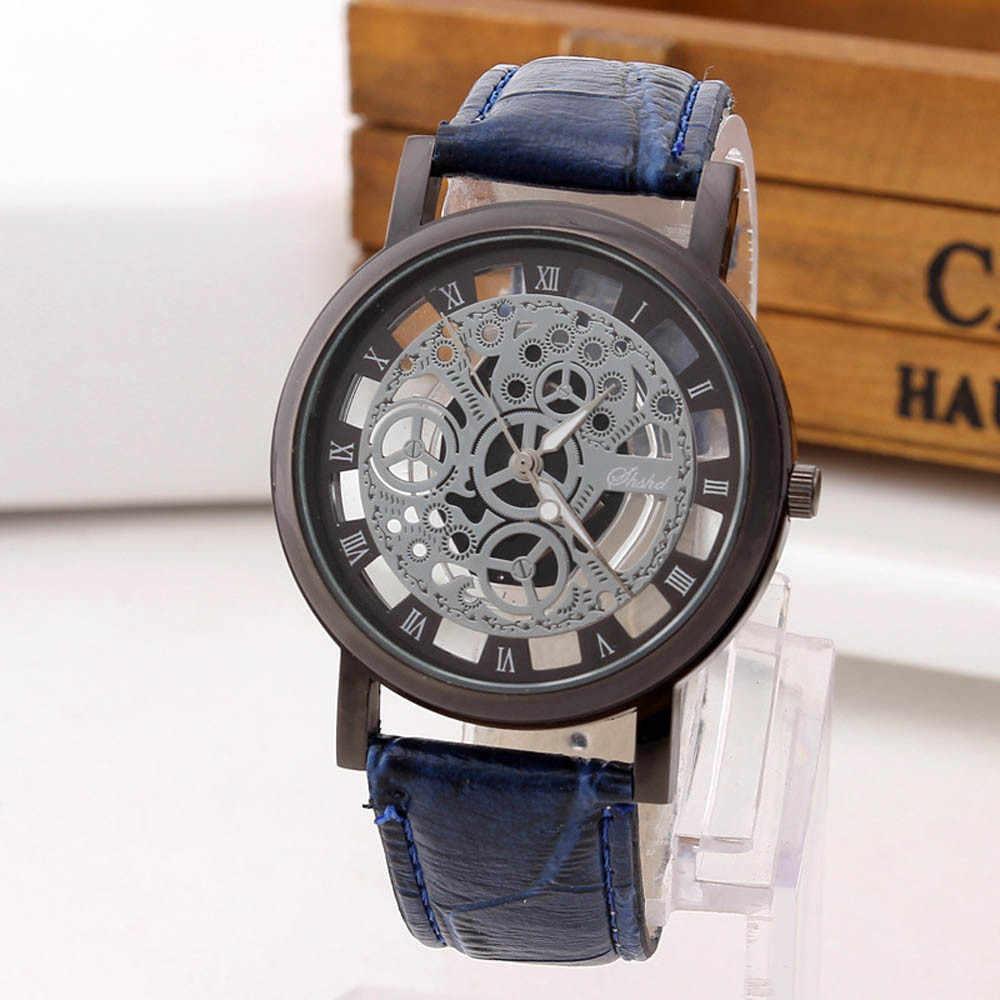 2019 Watch Pria Mewah dengan Kulit Jam Tangan Jam Tangan Kasual Blaus Masculino De Luxo Reloj Hombre Vintage Jam Olahraga