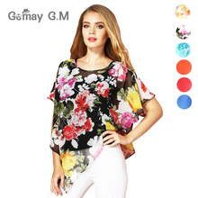Fashion Chiffon Summer Women Blouses and Shirts New Casual Batwing Short Sleeve Floral Print Shirt for