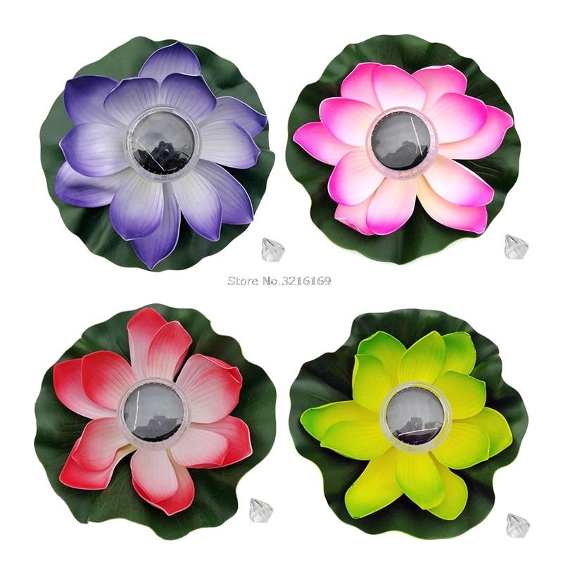 For 1PC Solar LED Lotus Light Flower Night Lamp Floating Float Pond Garden Pool 7 Color Promotion