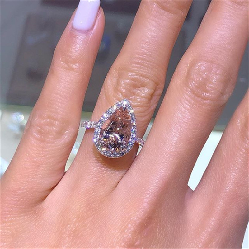 Pics Of Wedding Ring.Us 1 69 40 Off Zorcvens Rose Gold Color Cubic Zirconia Ring Pear Shape Engagement Wedding Rings For Women Dropshipping In Rings From Jewelry