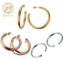Zhijia Big Hoop Earrings Solid Gold /Sliver/Rose gold color Eternity Earings Stainless Steel Circle Earrings For Women Jewelry цена в Москве и Питере