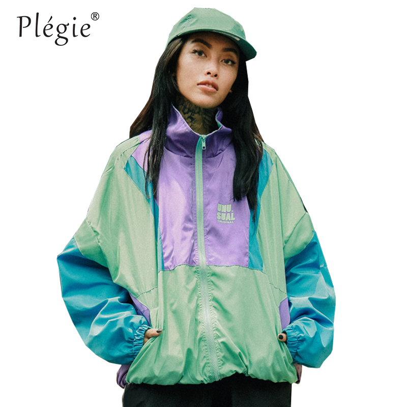Spring 2019 Hip Hop Windbreaker Jacket Oversized Harajuku Color Block Jacket Coat Retro Vintage Zip Track