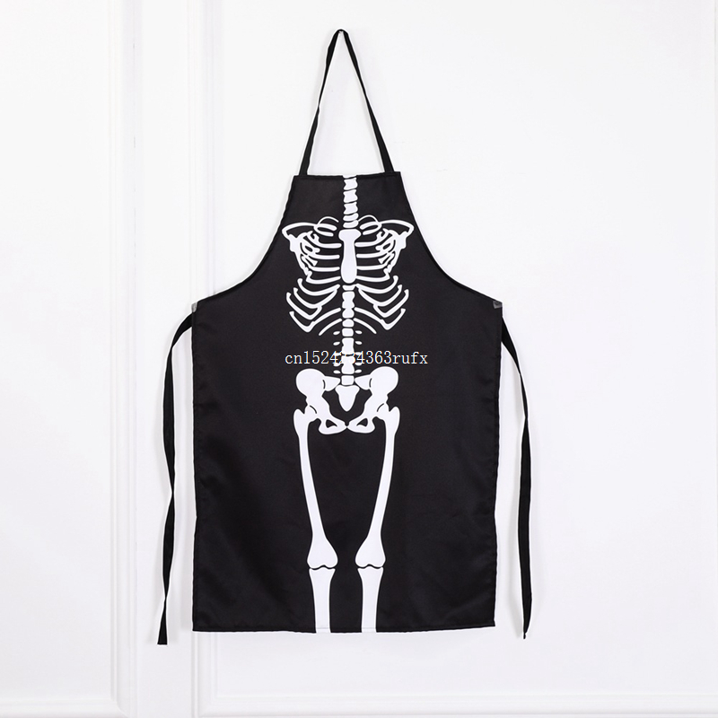 25pcs Black Aprons Halloween Cooking Painting Art Kitchen BBQ Party Accessory Horror Skeleton Ghost Long Aprons Adults Size