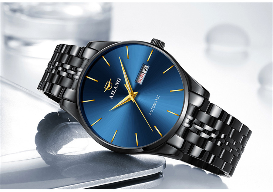 Uhr Business Männer Datum Clock Schwarz Stahl Herrenuhren Top marke Luxus Sport Automatische Mechanische uhr Blaues Zifferblatt NEUE-in Mechanische Uhren aus Uhren bei  Gruppe 2