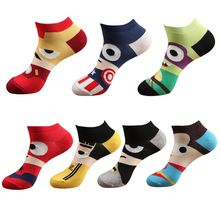 Men Unisex Spring Summer Short Over Ankle Boat Socks Funny Cute Colorful Cartoon Hero Character Alliance Printed Combed Cotton H