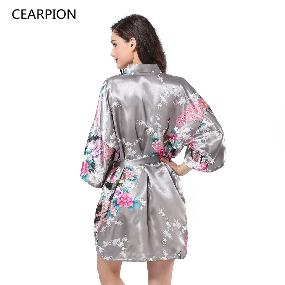 CEARPION Sexy Bathrobe Gown Print Flower Peacock Sleepwear Women Nightwear Satin Kimono Home Clothes Negligee Plus Size S-3XL