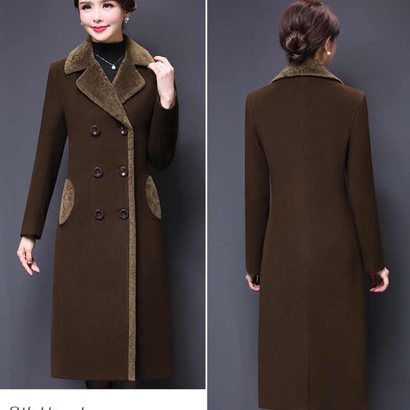 Осеннее Женское шерстяное пальто 2019 Новинка большой размер 5XL шерстяная куртка Женская длинная однотонная плотная элегантная кашемировая верхняя одежда пальто Теплые