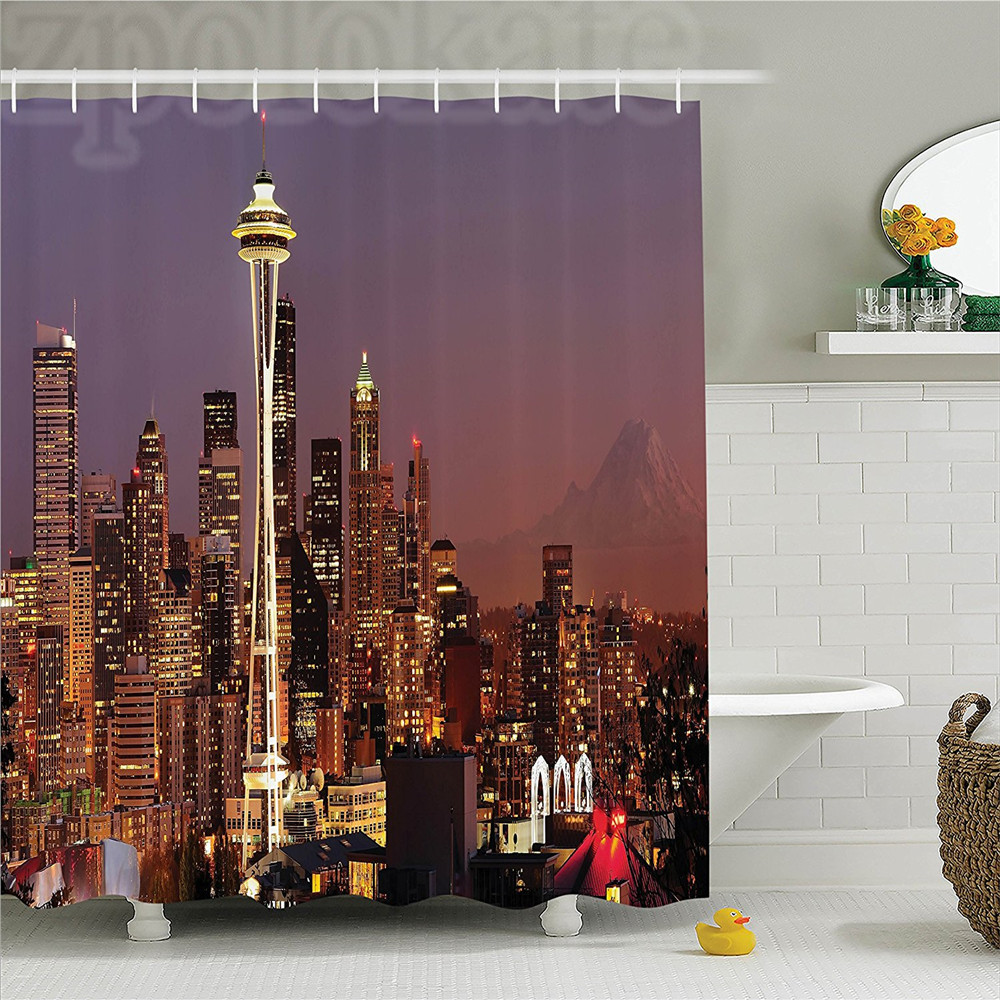 Apartment Decor Shower Curtain Skyscraper with Mount Rainier at Sunset Nightlife Urban Panorama Picture Polyester Bathroom Set w