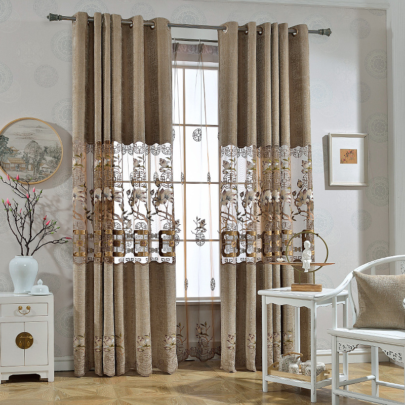 Modern European Luxury Classic Embroidery Blackout Curtains Shade Decorative For Living Room Kitchen