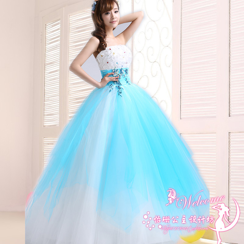 Quinceanera Dresses Pretty Beading Crystal Strapless Ball Gown Prom Debutante Gowns Hot Blue Quinceanera Dresses