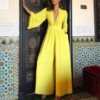 Wide leg pants jumpsuit Sexy v neck long women jumpsuit Autumn 2018 new fashion maxi jumpsuits and romper Elegant ladies overall