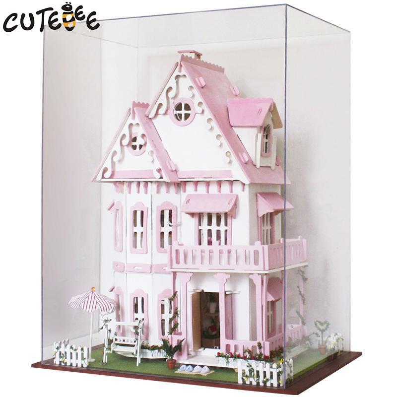 Hot Sale DIY Doll House Trä Miniatura Dollhouse Miniatyr Doll House - Dockor och tillbehör - Foto 4