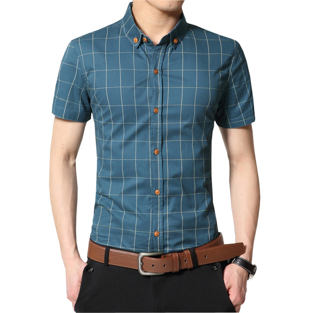 Plaid Men Shirt Slim Fit 100% Cotton Men Shirts Fashion Brand Men Clothes Short Sleeve Casual Shirt Men Social Chemise Homme 5XL